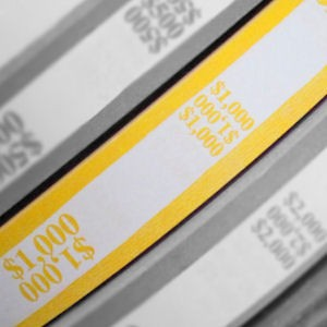 Bill Strap Rolls - Cummins - 25mm x 2400 ft - $1000 - Yellow / Tens
