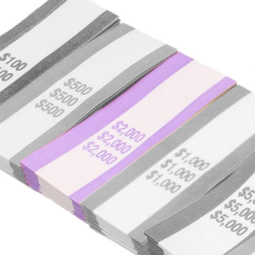 Pre-Sealed Violet Bill Straps - Holds $2000