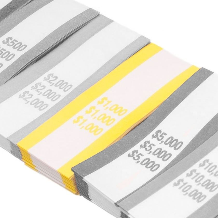 Pre-Sealed Yellow Bill Straps - Holds $1000