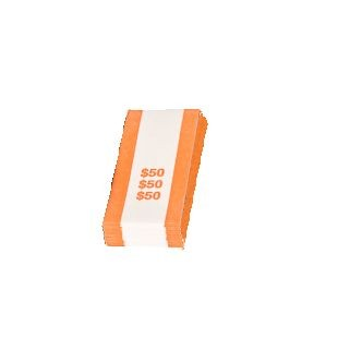 Pre-Sealed Orange Bill Straps - Holds $50