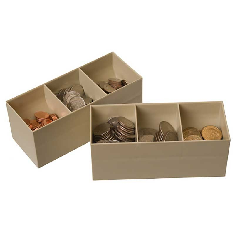 Plastic Coin Scoops - (3) compartments