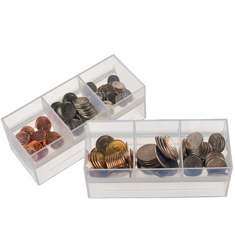Clear Plastic Coin Scoops - (3) compartments
