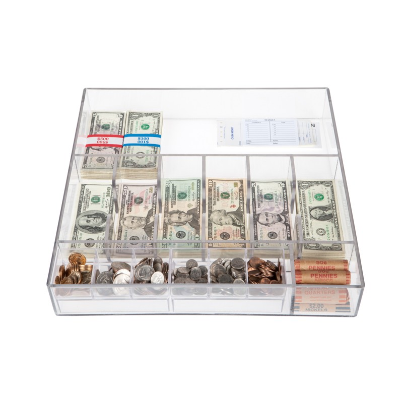 Clear Money Tray - 17-1/2W x 3H x 17-1/2D