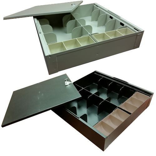 Fenco Metal Money Tray w/Locking Lid, 8 Currency / 6 Coin
