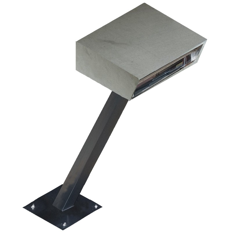 Stainless Steel Drive-Up Forms Dispenser with Fixed Square Base and Angled Stand