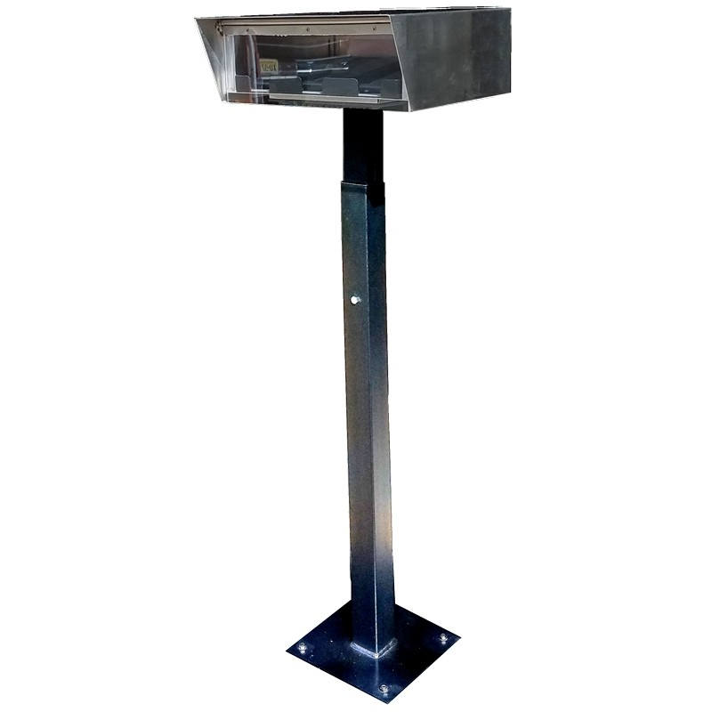 Stainless Steel Drive-Up Forms Dispenser with Fixed Square Base for Permanent Mounting