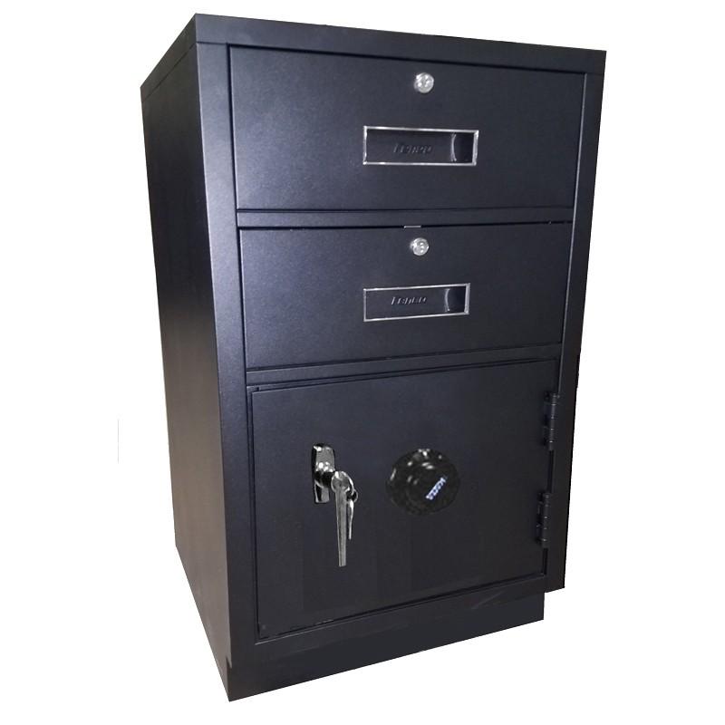 Fenco Silverline Lowboy Pedestal, (2) Key Locking Drawers, (1) Combination Locking Cabinet