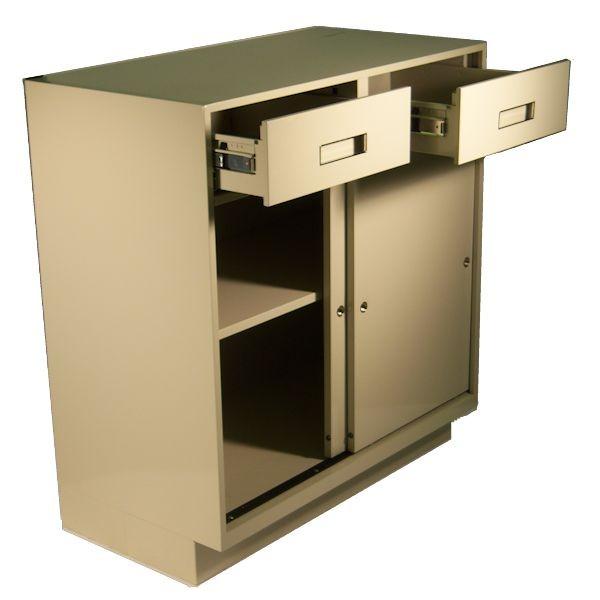 Fenco Silverline Pedestal, (2) Box Drawers, (1) Sliding Door Cabinet