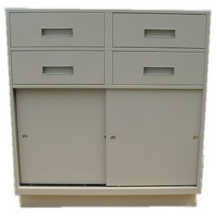 Fenco Silverline Pedestal, (4) Box Drawers, (1) Sliding Door Cabinet