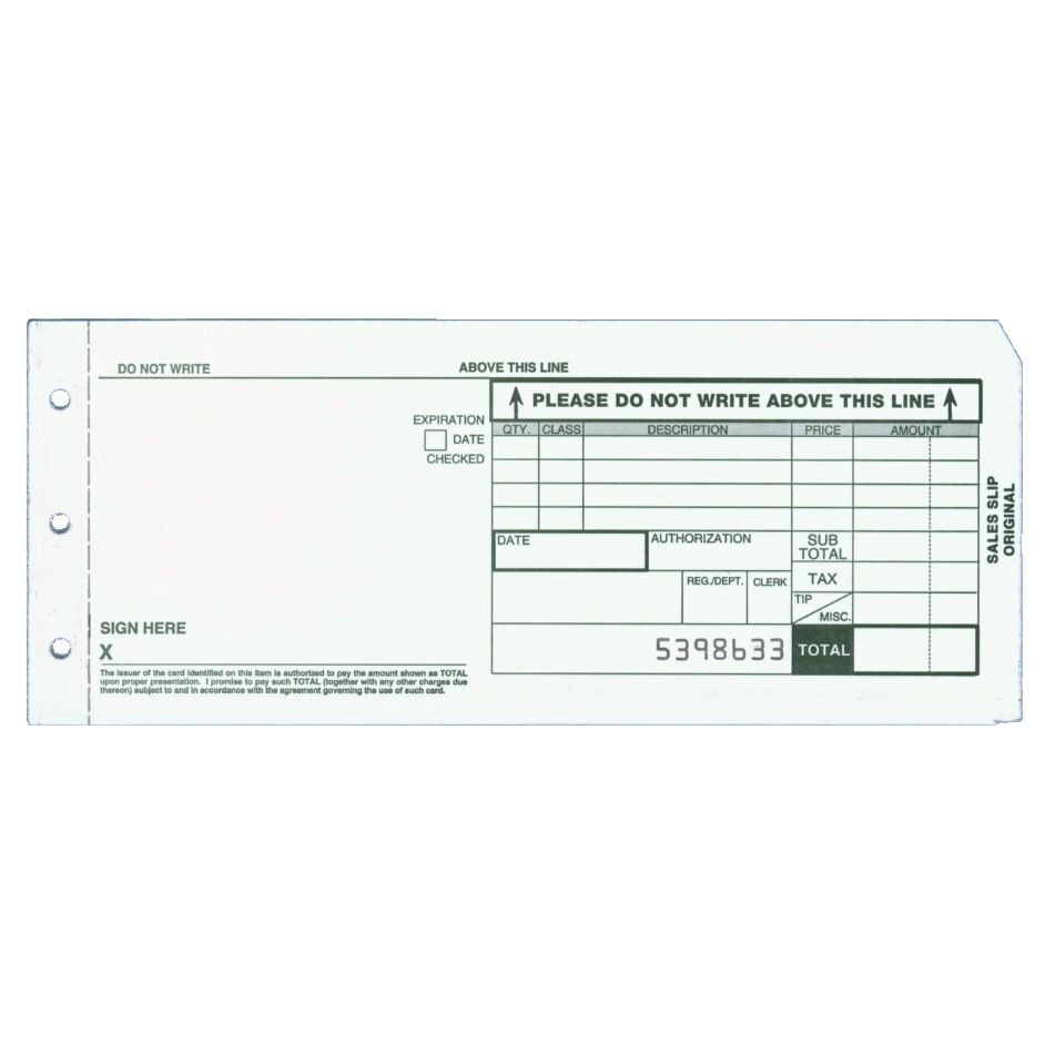 3-part Long Form Charge Slips - Pack of 100