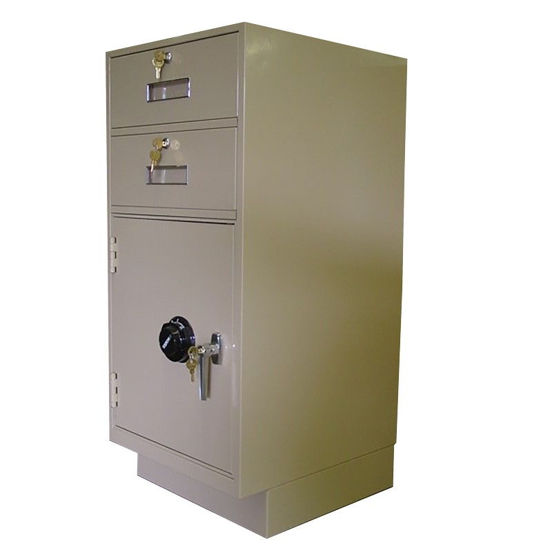 Fenco Teller Pedestal, (2) Drawers, (1) Coin Locker with Combination Lock
