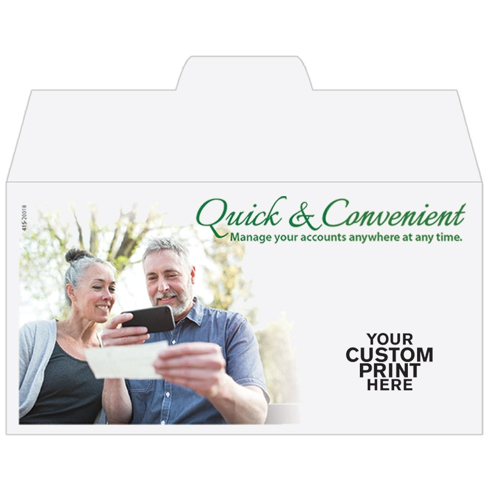 Ready-to-Ship Drive Up Envelopes - Quick & Convenient - Mobile Banking - w / 1 Color Custom Print
