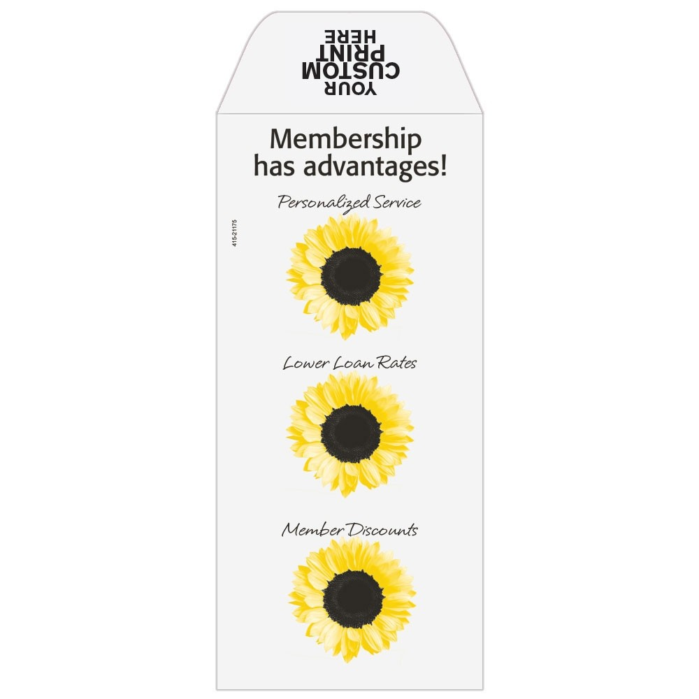 Ready-to-Ship Drive Up Envelopes - Membership Has Advantages - Sunflowers - w / 1 Color Custom Print