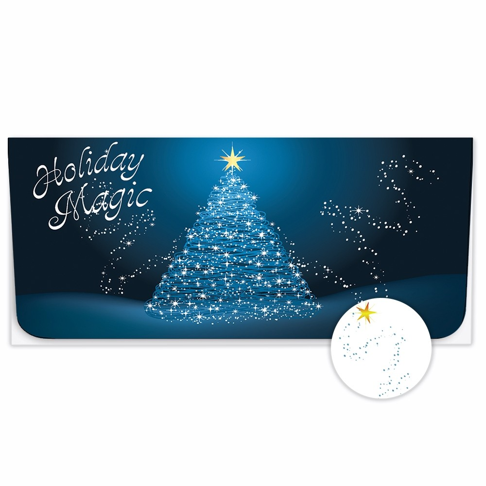 Exclusive Holiday Currency Envelopes - Holiday Magic - Christmas Tree on Blue