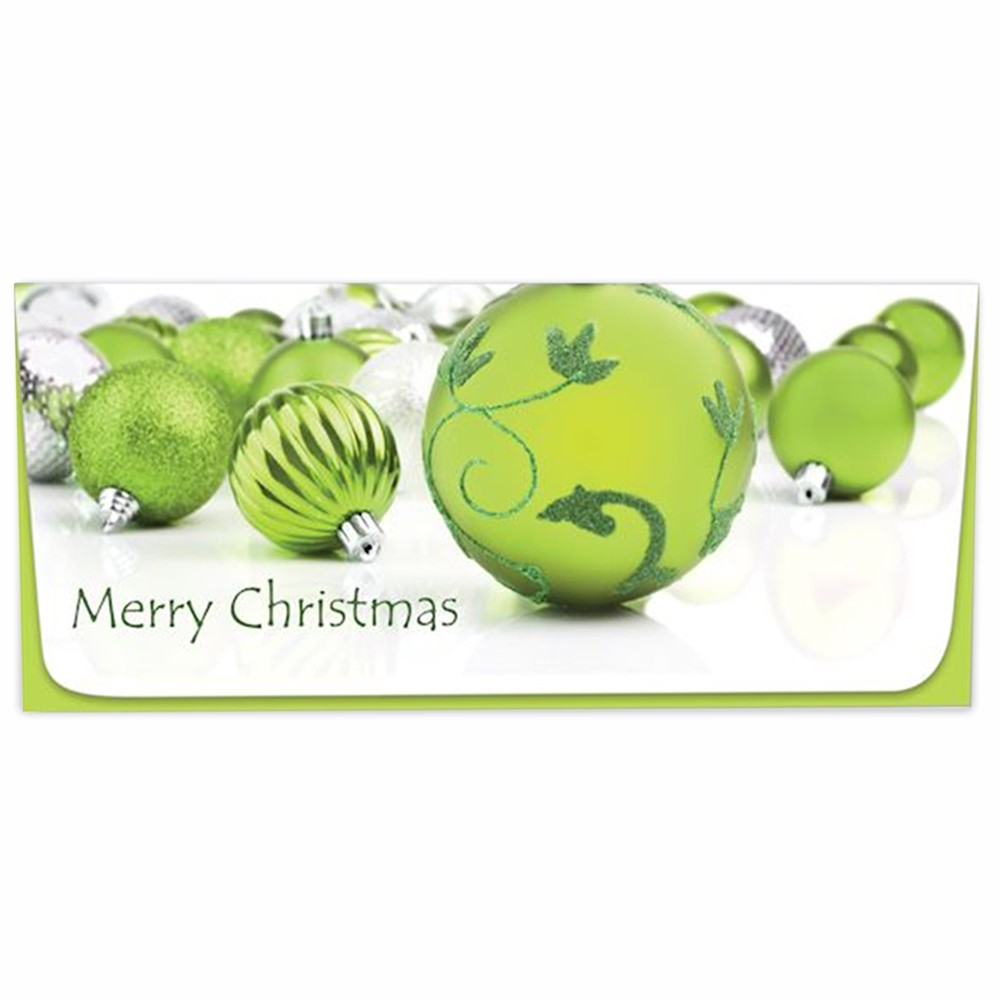 Exclusive Holiday Currency Envelopes - Merry Christmas - Green Bulbs