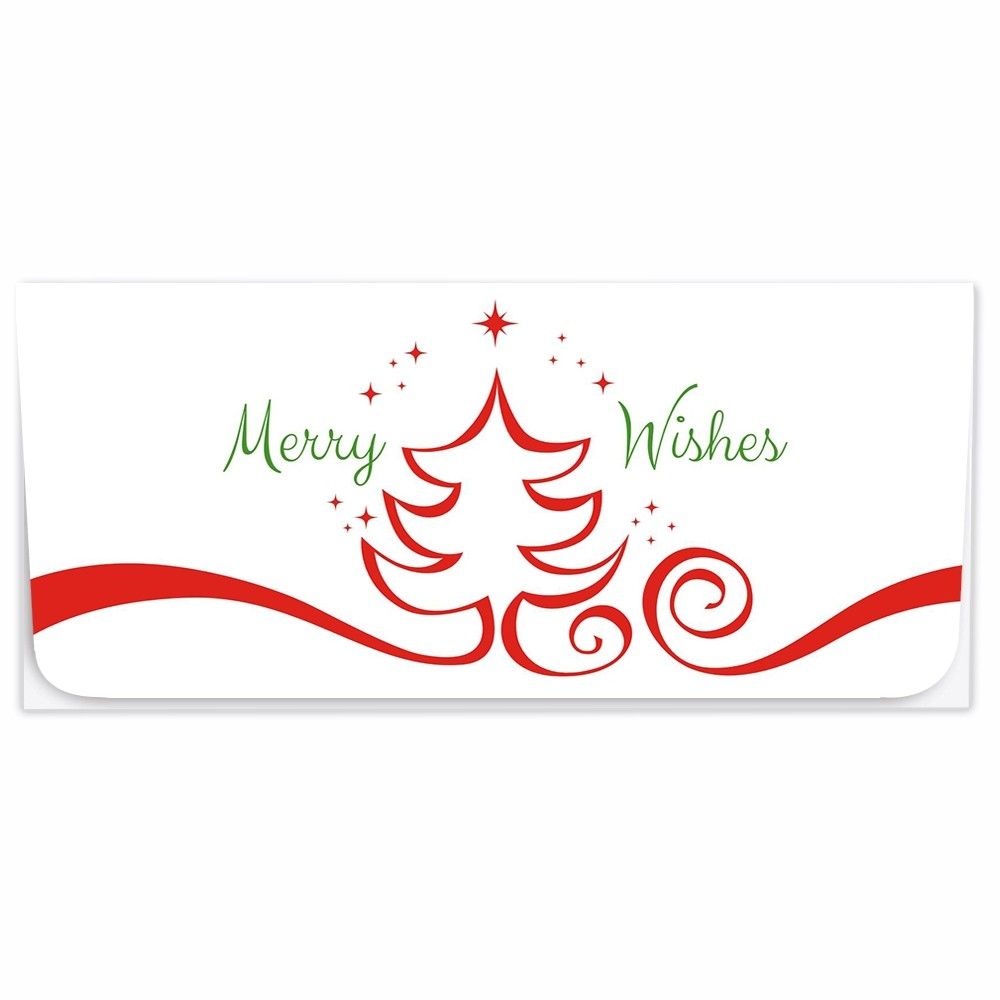 Exclusive Holiday Currency Envelopes - Merry Wishes - Red Tree