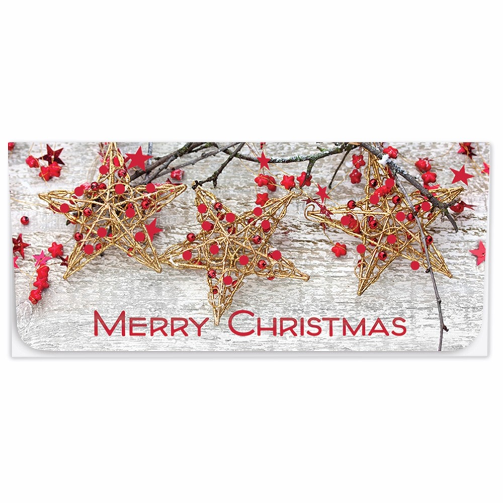 Exclusive Holiday Currency Envelopes - Merry Christmas - Red & Gold Stars