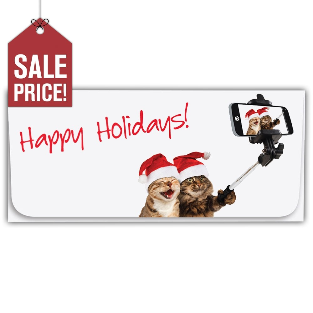 Exclusive Holiday Currency Envelopes - Happy Holidays! - Cat Selfie