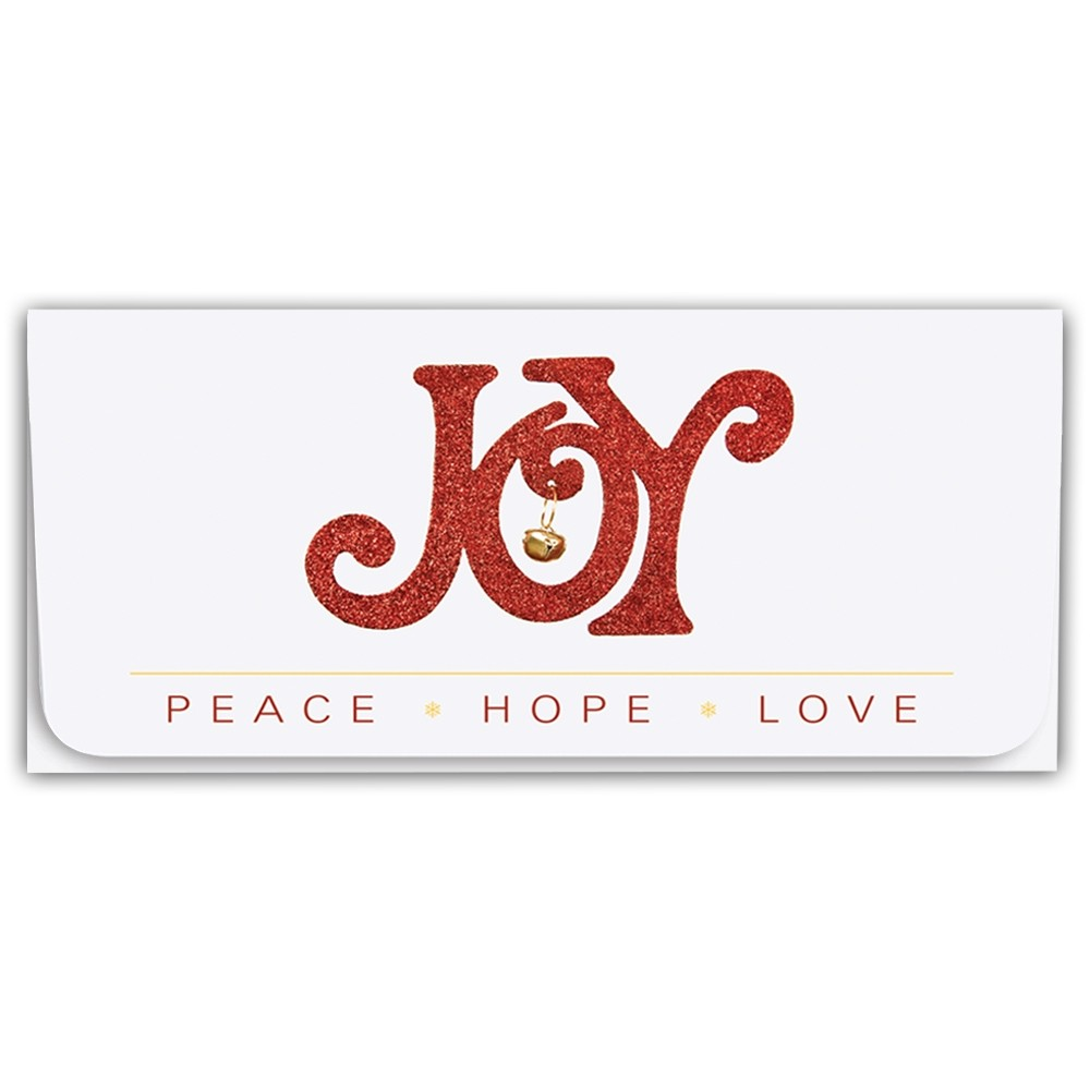 Holiday Currency Envelopes - Joy Peace Hope Love - Bell