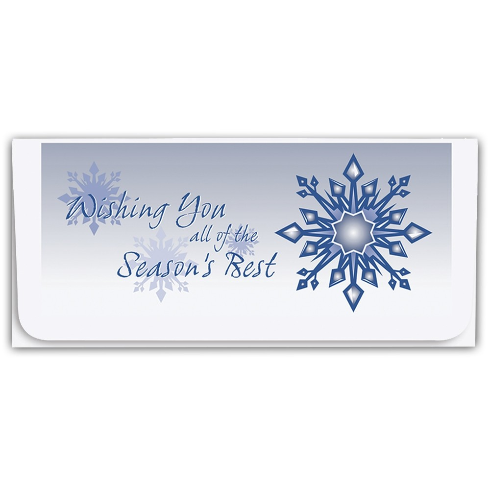 Holiday Currency Envelopes - Wishing You All Of The Seasons Best - Blue Snowflake