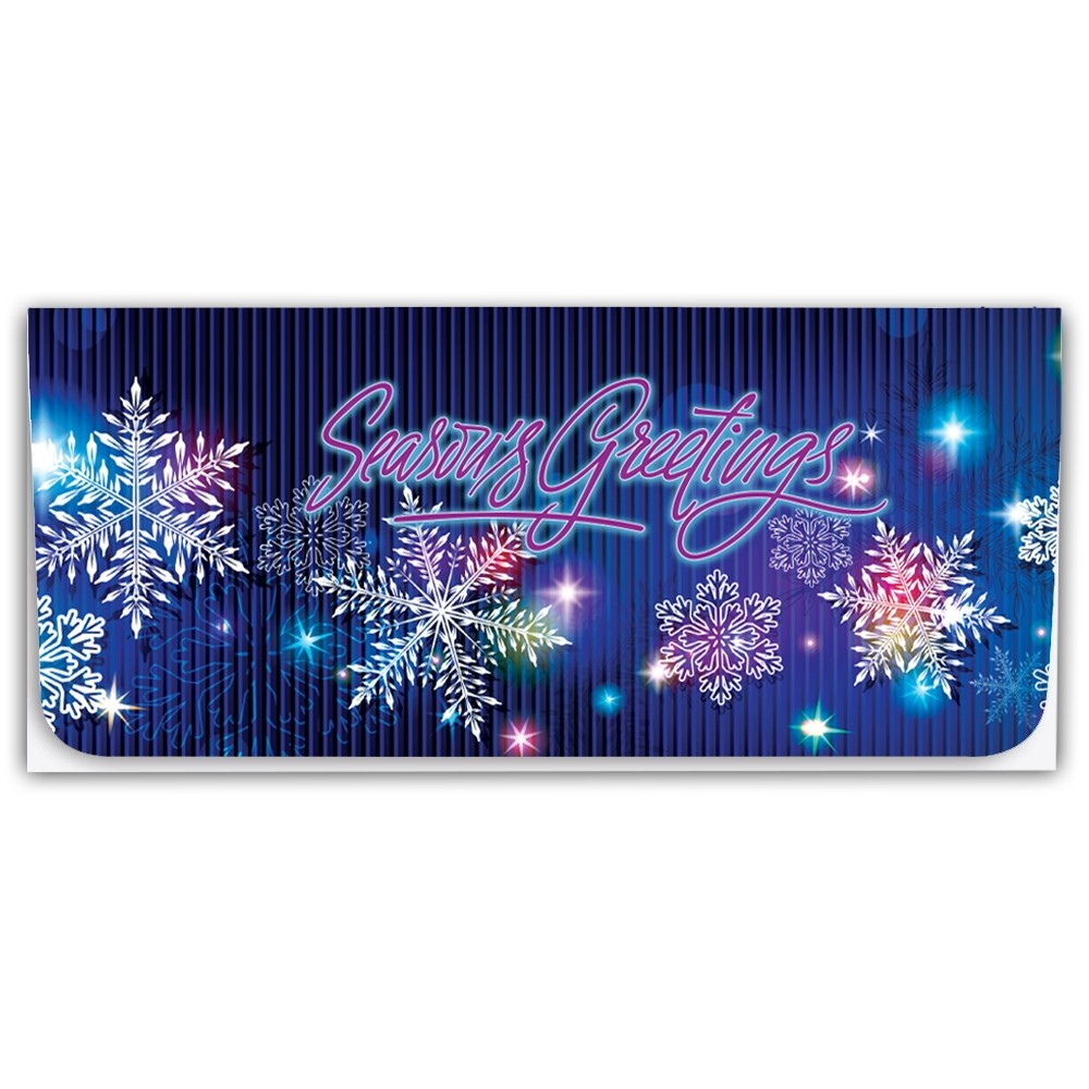 Holiday Currency Envelopes - Seasons Greetings - Multi Color Snowflakes on Blue