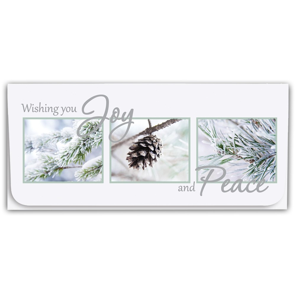 Holiday Currency Envelopes - Wishing You Joy And Peace - Pine Cone