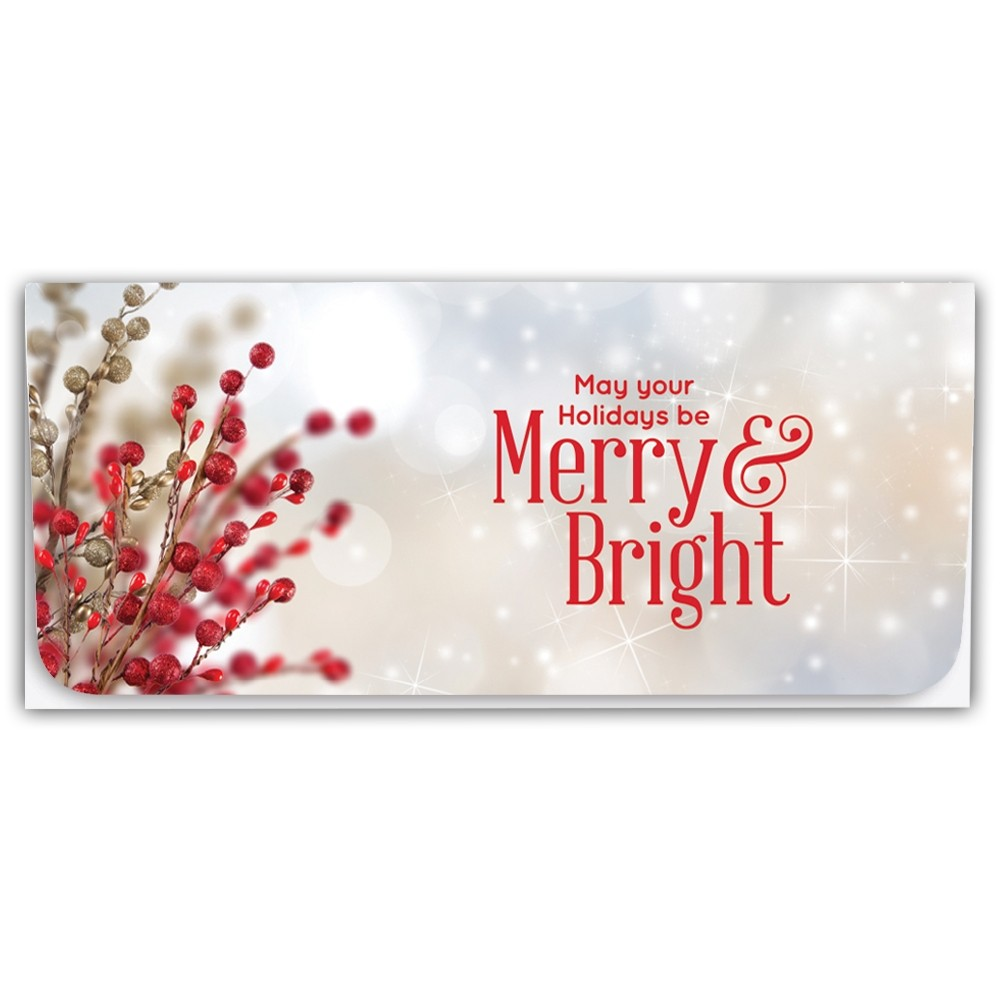Holiday Currency Envelopes - May Your Holidays Be Merry & Bright - Berries