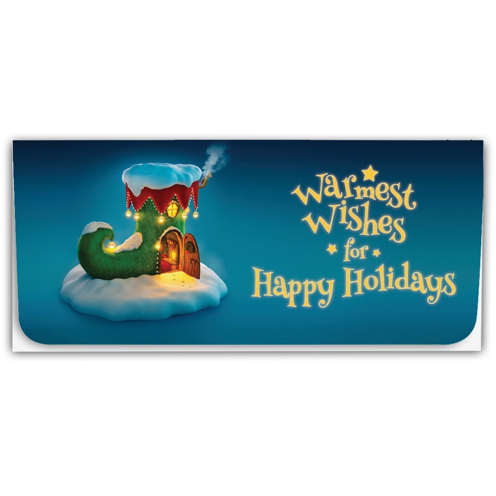 Holiday Currency Envelopes - Warmest Wishes for Happy Holidays - Elf Boot
