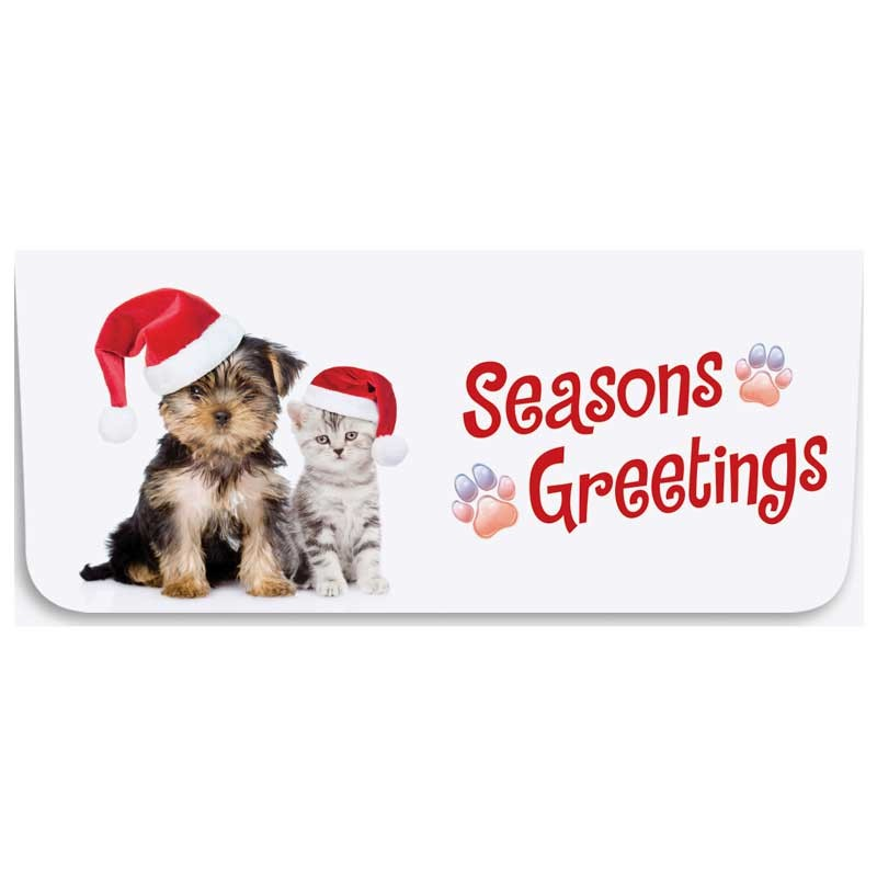Holiday Currency Envelopes - Season's Greetings - Puppy & Kitten with Santa Hats