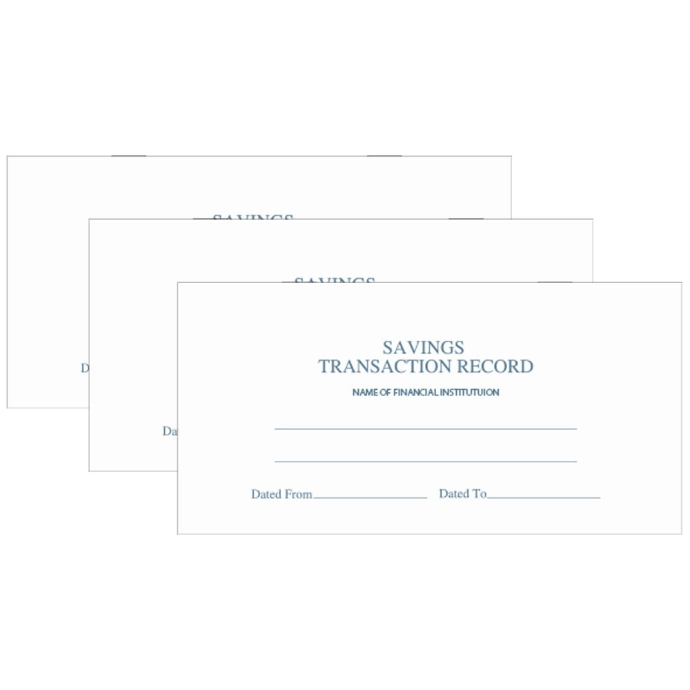 Savings Transactions Record 6 Wx3 H, 9 pages, 25/Pk