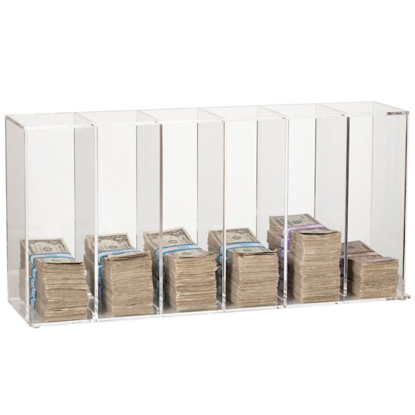Clear Currency Sorter - 6 Pockets