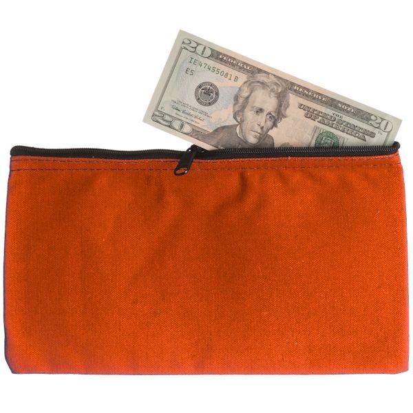 10-1/2W x 5-1/2H Zipper Bags - Orange Canvas