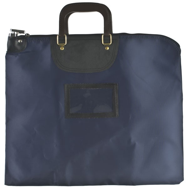 19 W x 15 H HIPAA Locking Courier Bags w/ Handles - Ready to Ship - Navy Blue