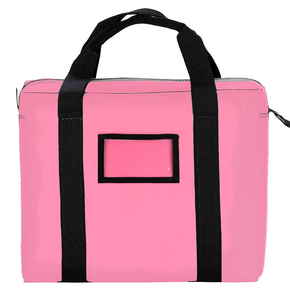 Pink 14x11x3 Laminated Nylon Briefcase Bag