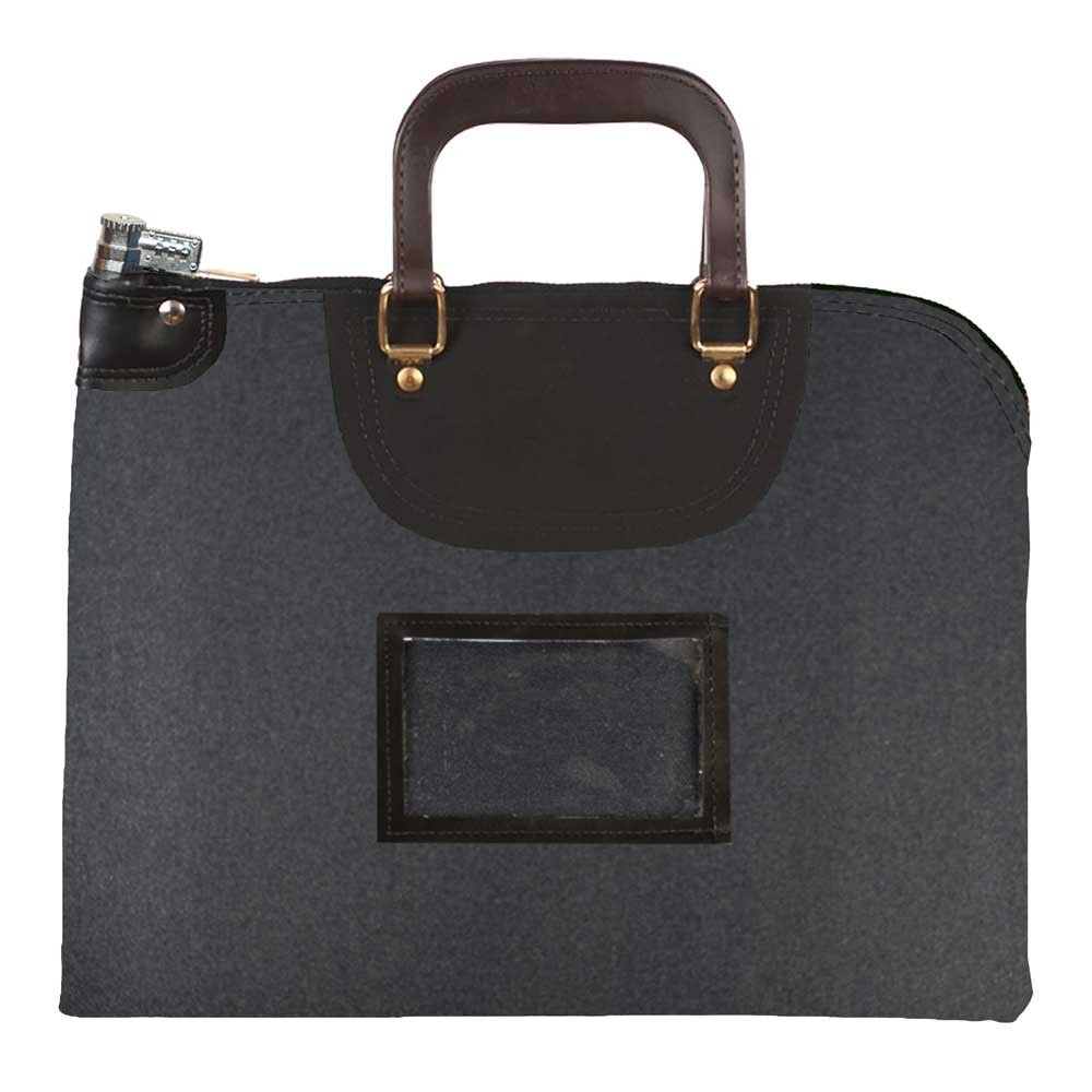 Black 1000D Nylon 15Wx11H Handled Fire-Resistant Locking Courier Bag w/Combo Alike Lock, Framed Cardholder