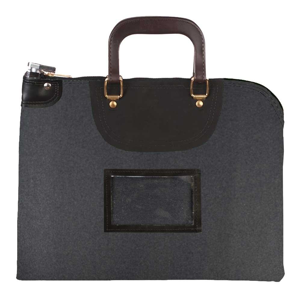 Black 1000D Nylon 19Wx15H Handled Fire-Resistant Locking Courier Bag w/Key Alike Lock, Framed Cardholder