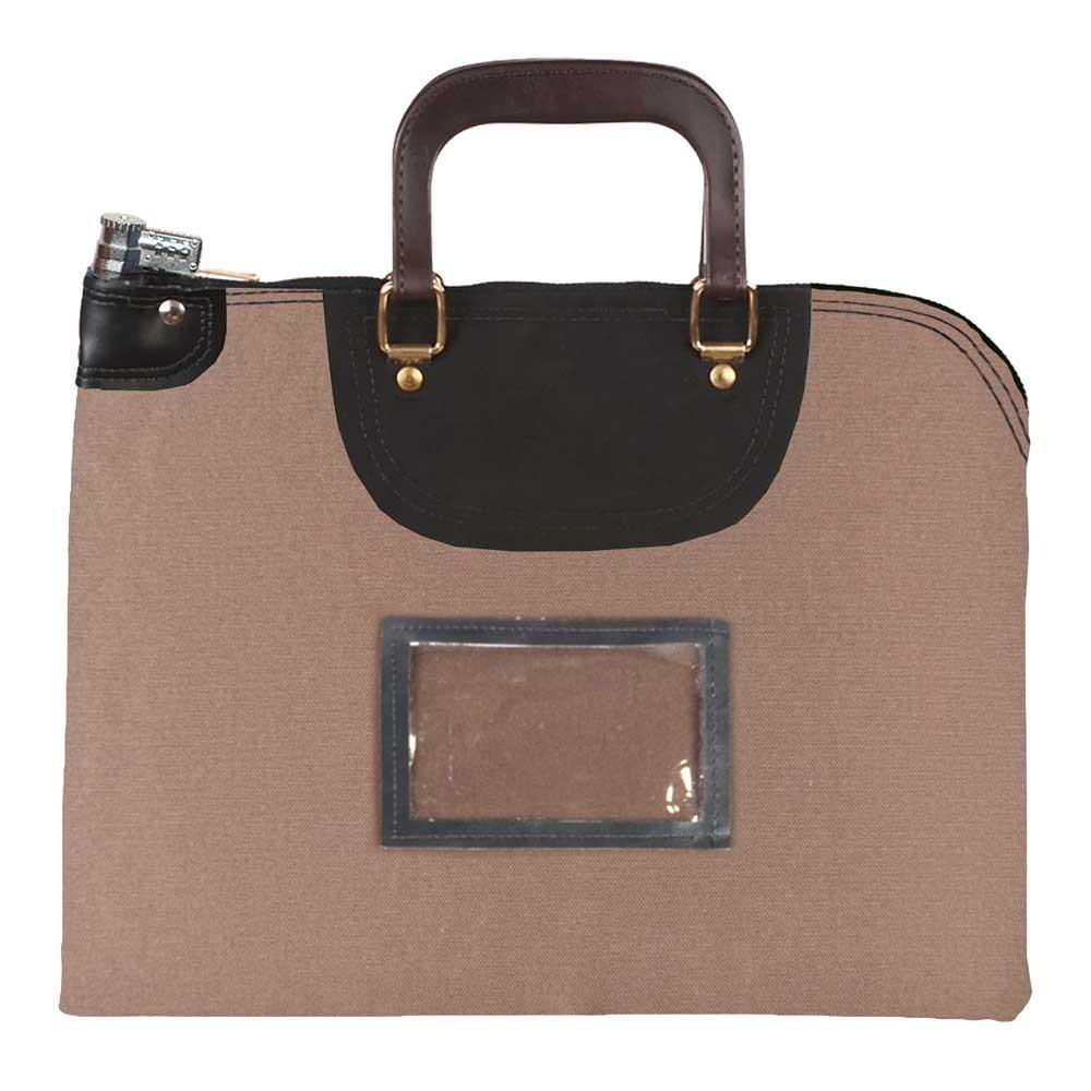 Brown 1000D Nylon 18Wx14H Handled Fire-Resistant Locking Courier Bag w/Combo Alike Lock, Framed Cardholder