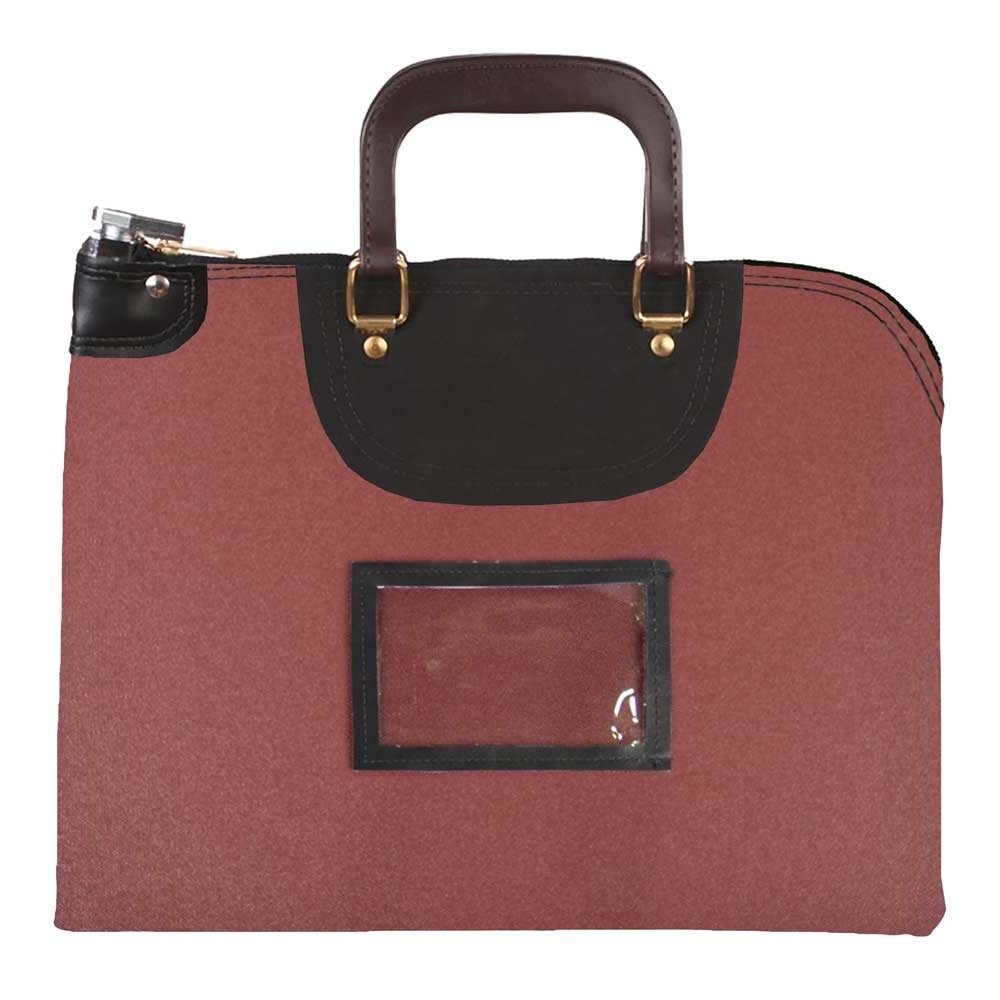 Burgundy 1000D Nylon 19Wx15H Handled Fire-Resistant Locking Courier Bag w/Master Key Lock, Framed Cardholder