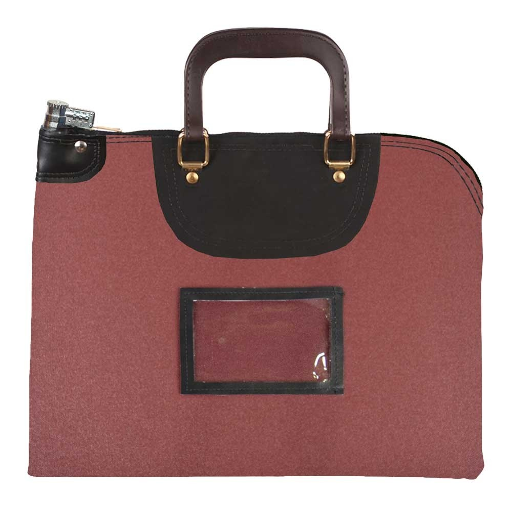 Burgundy 1000D Nylon 18Wx14H Handled Fire-Resistant Locking Courier Bag w/Combo Diff Lock, Framed Cardholder