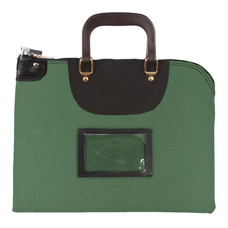 Forest Green 1000D Nylon 16Wx12H Handled Fire-Resistant Locking Courier Bag w/Key Alike Lock, Framed Cardholder
