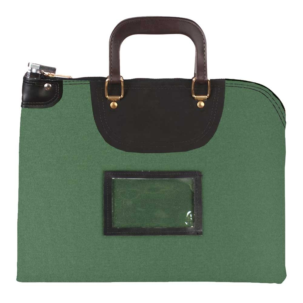 Forest Green 1000D Nylon 15Wx11H Handled Fire-Resistant Locking Courier Bag w/Master Key Lock, Framed Cardholder