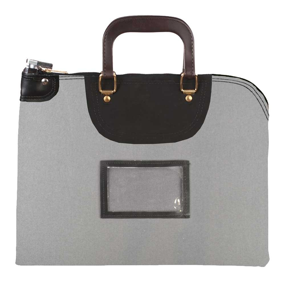 Gray 1000D Nylon 18Wx14H Handled Fire-Resistant Locking Courier Bag w/Master Key Lock, Framed Cardholder