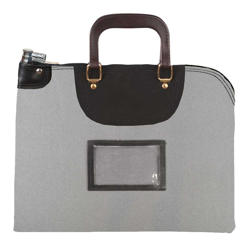 Gray 1000D Nylon 19Wx15H Handled Fire-Resistant Locking Courier Bag w/Combo Alike Lock, Framed Cardholder