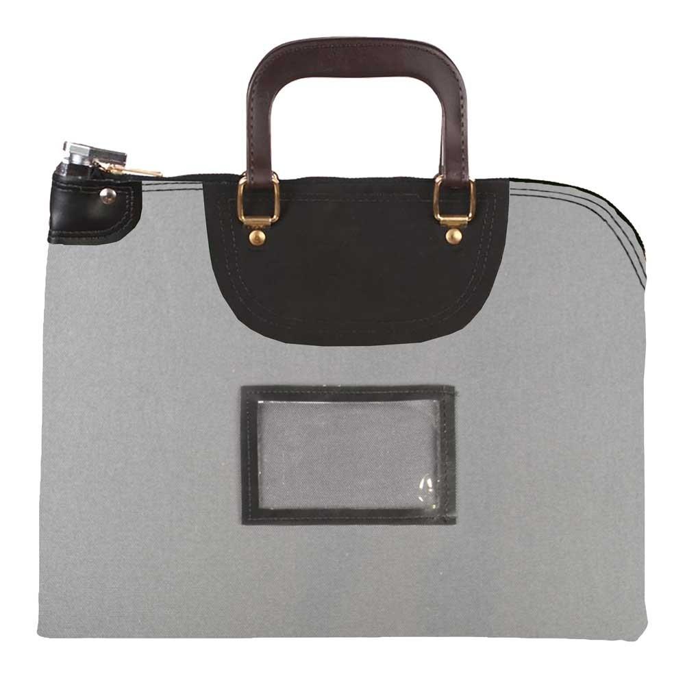 Gray 1000D Nylon 19Wx15H Handled Fire-Resistant Locking Courier Bag w/Key Alike Lock, Framed Cardholder