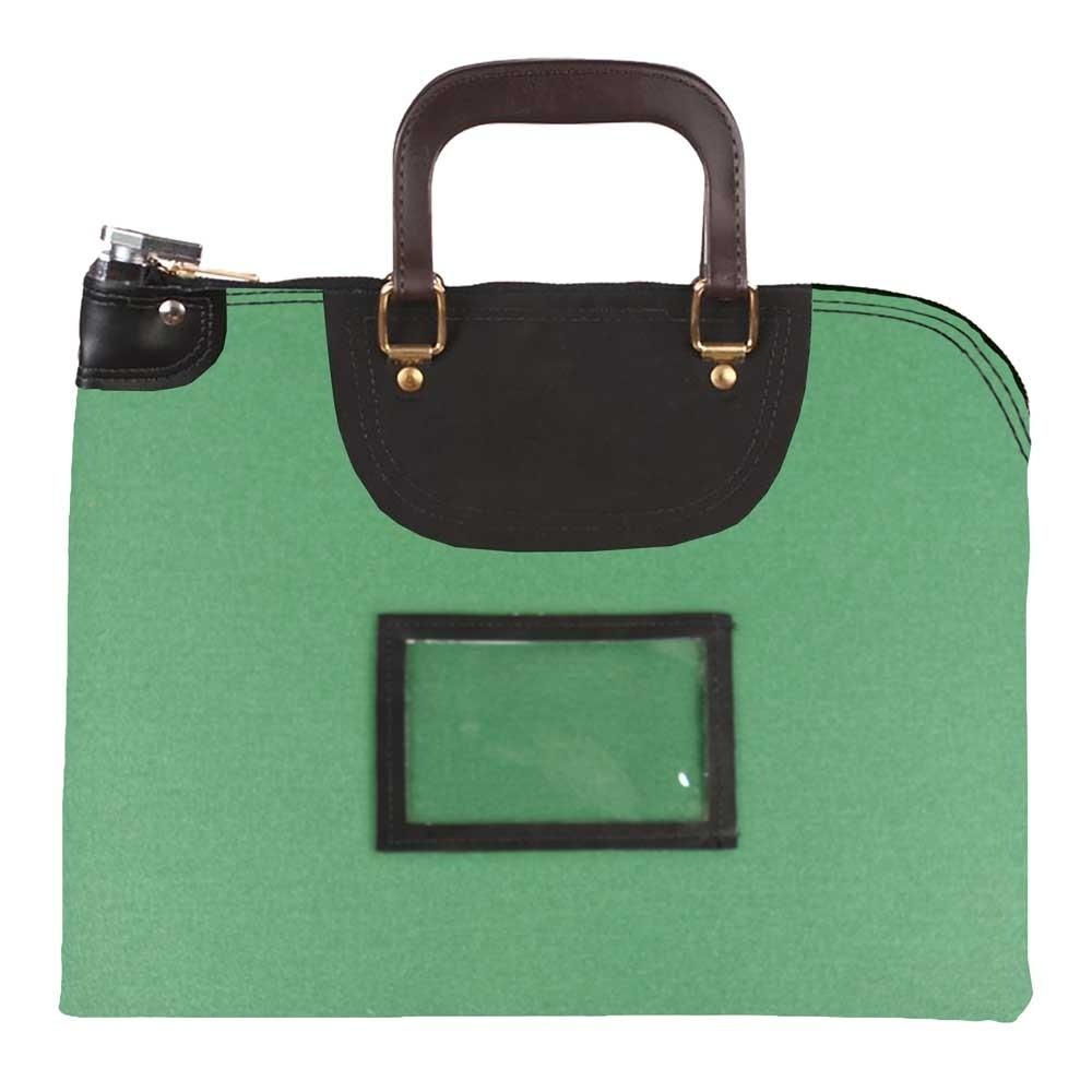 Kelly Green 1000D Nylon 15Wx11H Handled Fire-Resistant Locking Courier Bag w/Key Alike Lock, Framed Cardholder