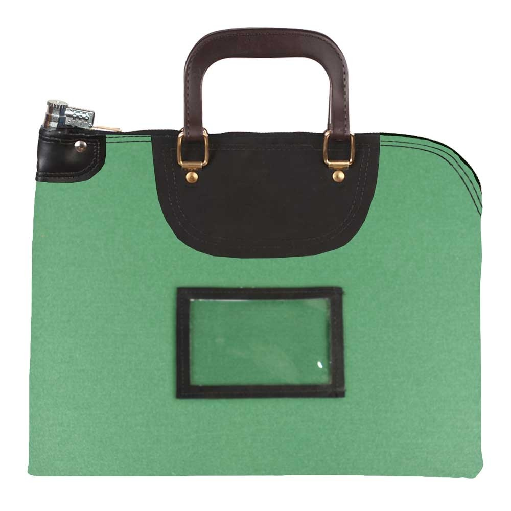 Kelly Green 1000D Nylon 19Wx15H Handled Fire-Resistant Locking Courier Bag w/Combo Diff Lock, Framed Cardholder
