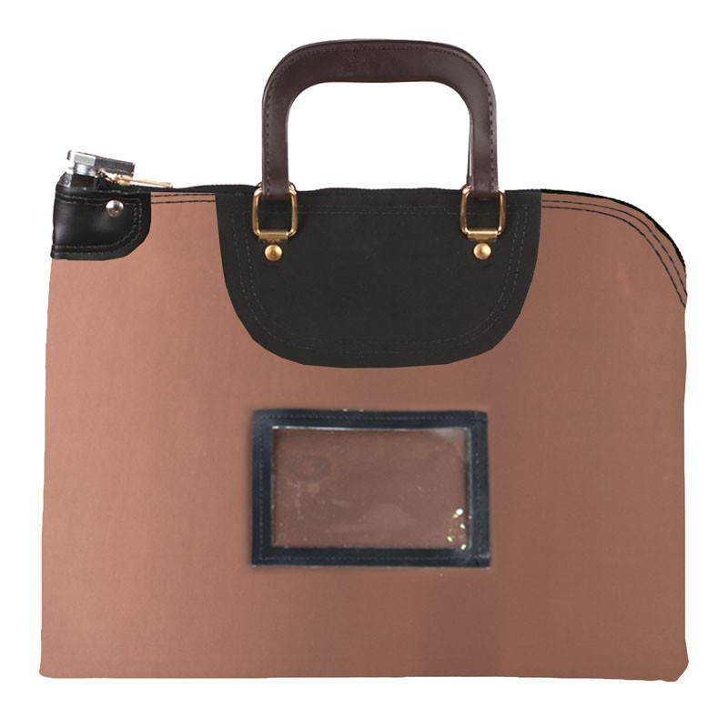 Brown Laminated Nylon 18Wx14H Handled Fire-Resistant Locking Courier Bag w/Keyed Diff Lock, Framed Cardholder