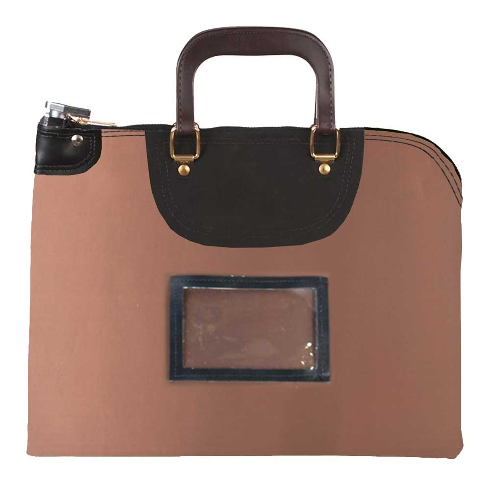Brown Laminated Nylon 15Wx11H Handled Fire-Resistant Locking Courier Bag w/Keyed Diff Lock, Framed Cardholder