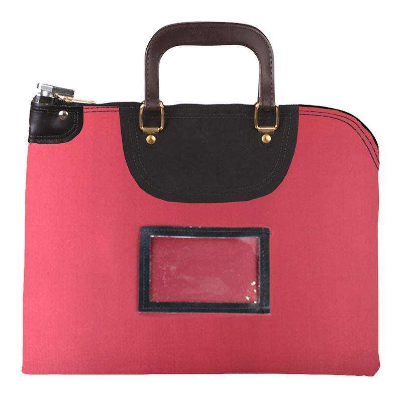Burgundy Laminated Nylon 16Wx12H Handled Fire-Resistant Locking Courier Bag w/Master Key Lock, Framed Cardholder
