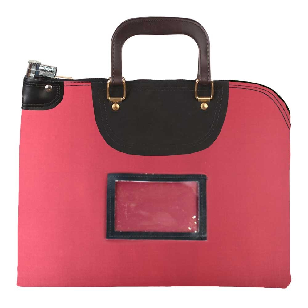 Burgundy Laminated Nylon 15Wx11H Handled Fire-Resistant Locking Courier Bag w/Combo Alike Lock, Framed Cardholder